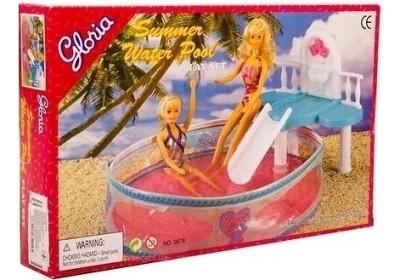 Мебель для куклы Бассейн с горкой Gloria 9878
