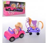 Кукла на машине с прицепом и лошадкой K899-103