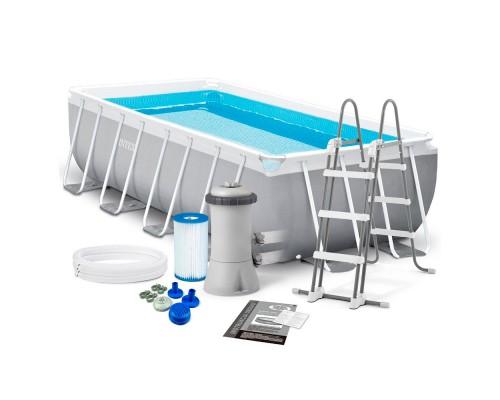 Бассейн каркасный Intex Prism Frame Pool 26790 с лестницей и фильтр-насосом 400х200х122 см