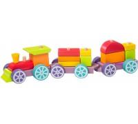Деревянный поезд Радужный экспресс LP-3 Cubika 12923