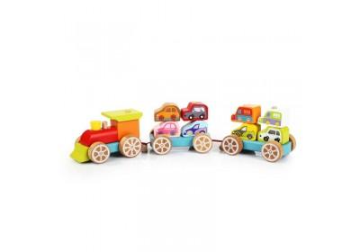 Деревянный Поезд с машинками Cubika 13999 14 деталей