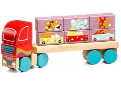 Деревянный тягач с кубиками LM-14 Cubika 13432 12 деталей
