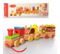 Деревянный поезд -каталка 2374 с фруктами