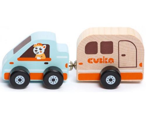 Деревянная игрушка Cubika Домик на колесах на магнитах 15368