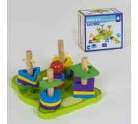 Деревянная игрушка пирамидка-сортер лягушка 39385