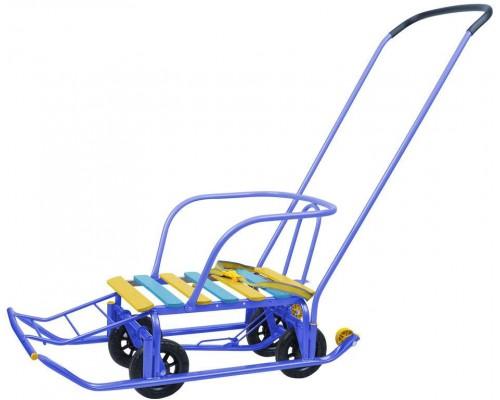 Санки Nika kids Тимка 5 Универсал с колесами и ручкой толкателем синие
