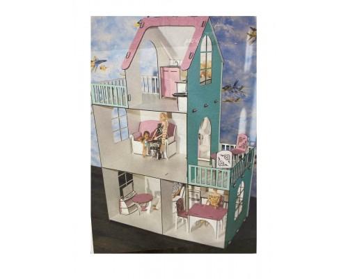 Эко дом для кукол барби с мебелью