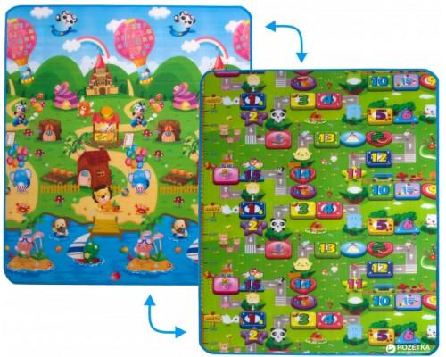 Детский двусторонний коврик Limpopo Солнечный день и цветные циферки 120х180 см LP003-120