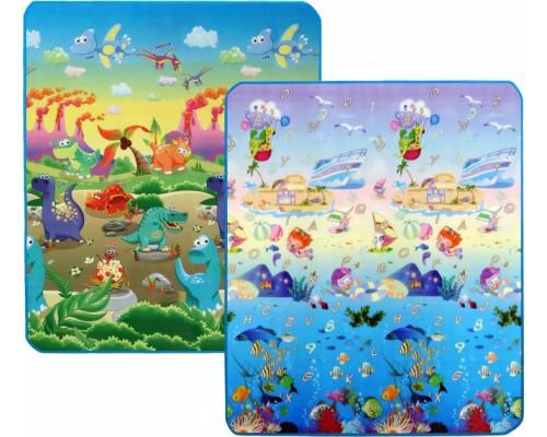 Детский двусторонний коврик Limpopo Динозавры и Подводный мир 200х180 см LP013-200