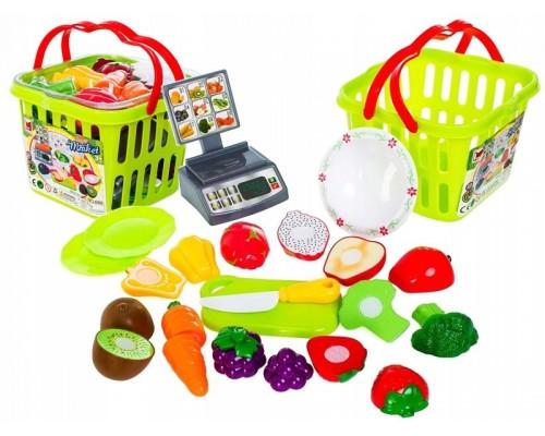 Игровой набор овощи и фрукты на липучках в корзине 686