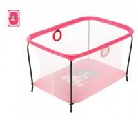 Манеж Kinderbox Люкс игровой с мелкой сеткой Пес розовый