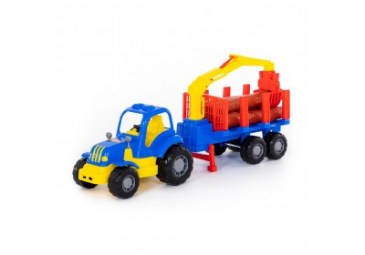 Трактор Крепыш Polesie с полуприцепом-лесовозом 44815