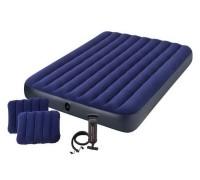 Матрас двуспальный с подушками и насосом Intex 64765 152*203*25 см