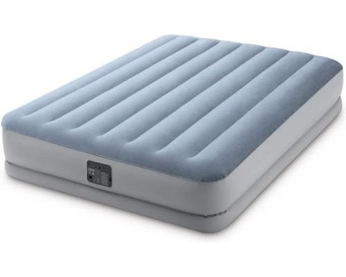 Кровать надувная велюр Intex 64168 со встроенным электронасосом 203*152*36 см