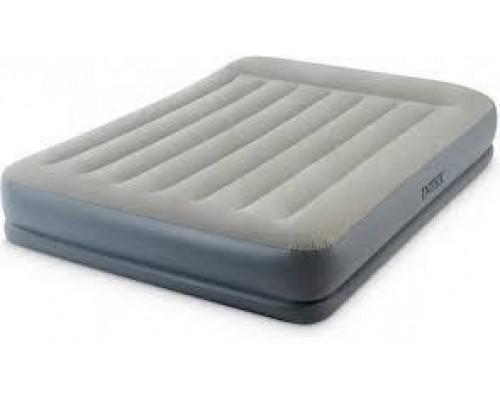 Кровать надувная велюр Intex 64118 со встроенным электронасосом 203*152*30 см