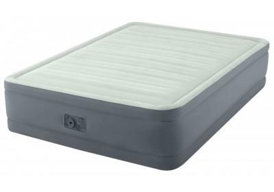 Кровать надувная велюр Intex 64906 со встроенным электронасосом 203*152*46 см