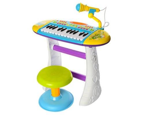 Пианино синтезатор со стульчиком BB383BD голубой