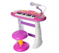 Пианино синтезатор со стульчиком BB383BD розовый