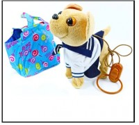 Собачка на поводке в сумочке