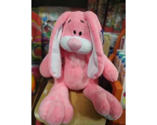 Заяц розовый мягкая игрушка 43 см