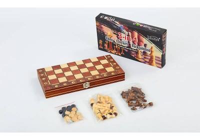 Шахматы шашки нарды 3 в 1 набор 7703
