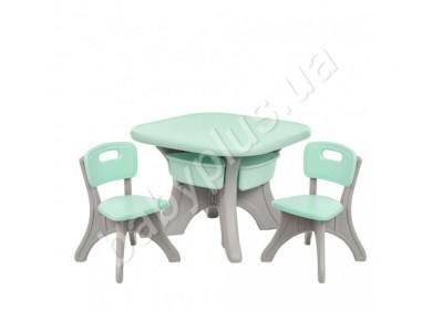 Детский столик с 2 стульчиками Bambi NEW TABLE-5 бежево-мятный