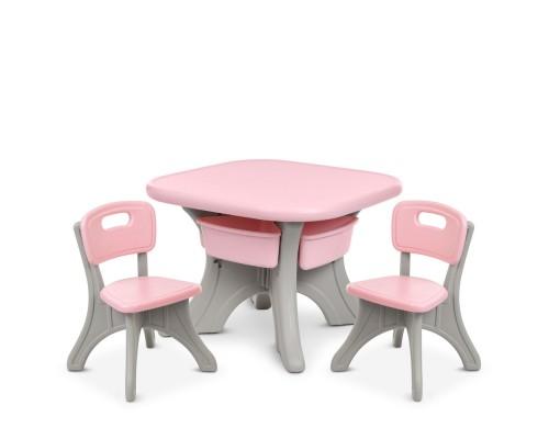 Детский столик с 2 стульчиками Bambi NEW TABLE-5 серо-розовый