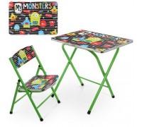 Столик со стульчиком складной детский комплект Монстры A19-MONST