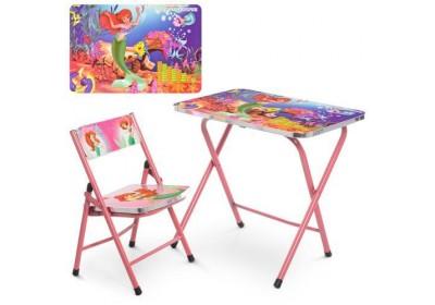 Столик со стульчиком складной детский комплект Русалочка A19-MERM