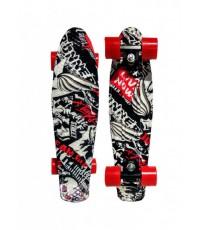 Скейт Пенни Борд (Penny Board) со светящимися колесами. 22 дюйма Ecoline Rebel FL-22 черно-белый