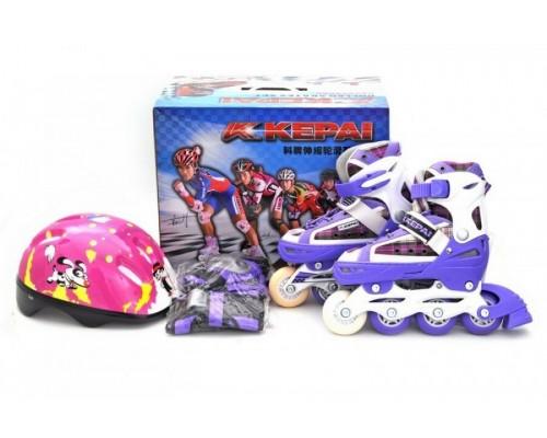 Комплект ролики шлем защита Kepai F1-S2 р.30-33