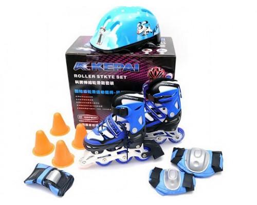Комплект ролики шлем защита Kepai 30-33 Star-7B синие с серым
