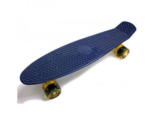Скейт Пенни Борд (Penny Board) со светящимися колесами. 22 дюйма темно-фиолетовый