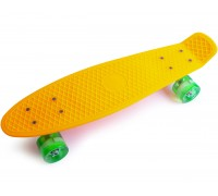 Скейт Пенни Борд (Penny Board) со светящими колесами. 22 дюйма желтый
