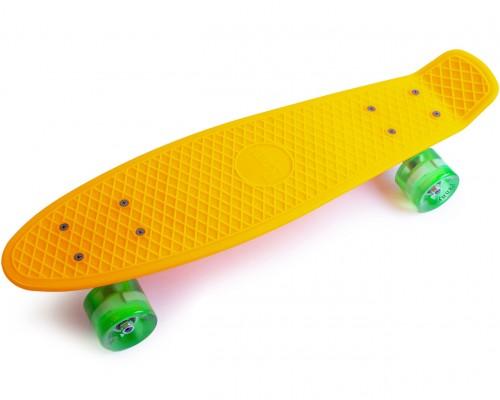 Скейт Пенни Борд (Penny Board) со светящимися колесами. 22 дюйма желтый