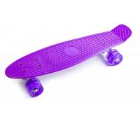 Скейт Пенни Борд (Penny Board) со светящими колесами. 22 дюйма фиолетовый