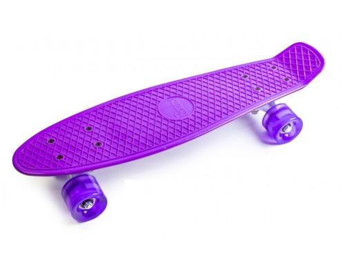 Скейт Пенни Борд (Penny Board) со светящимися колесами. 22 дюйма фиолетовый