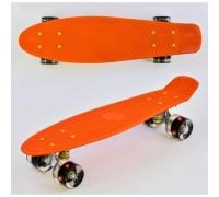 Скейт Пенни Борд (Penny Board) со светящимися колесами. 22 дюйма оранжевый