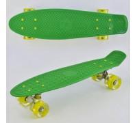 Скейт Пенни Борд (Penny Board) со светящими колесами. 22 дюйма зеленый