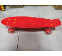 Скейт Пенни Борд (Penny Board) со светящими колесами. 22 дюйма красный