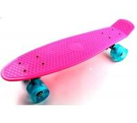 Скейт Пенни Борд (Penny Board) со светящимися колесами. 22 дюйма розовый
