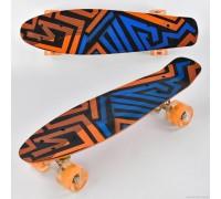 Скейт Пенни Борд (Penny Board) цветной со светящими колесами 22 дюйма оранжевый