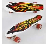 Скейт Пенни Борд (Penny Board) цветной со светящими колесами 22 дюйма красный