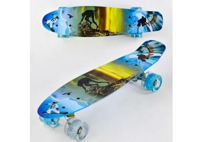 Скейт Пенни Борд (Penny Board) цветной со светящими колесами. 22 дюйма голубой