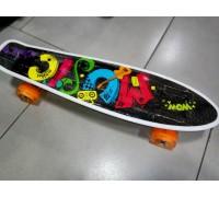 Скейт Пенни Борд (Penny Board) со светящими колесами. 22 дюйма черный