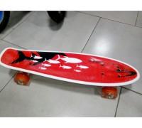 Скейт Пенни Борд (Penny Board) со светящими колесами. 22 дюйма Explore Ulster красный