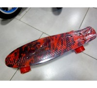 Скейт Пенни Борд (Penny Board) со светящими колесами. 22 дюйма Ecoline Rebel FL-22 красный