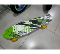 Скейт Пенни Борд (Penny Board) со светящими колесами. 22 дюйма Ecoline Rebel FL-22 зеленый