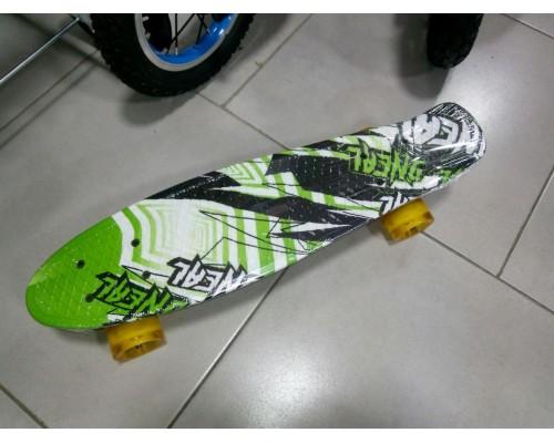 Скейт Пенни Борд (Penny Board) со светящими колесами. 22 дюйма Ecoline Rebel FL-22 зеленый