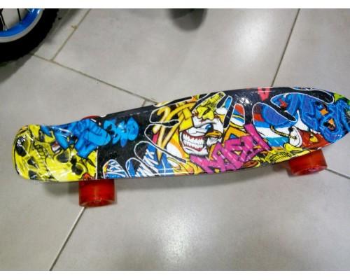 Скейт Пенни Борд (Penny Board) со светящими колесами. 22 дюйма Ecoline Rebel FL-22 цветной